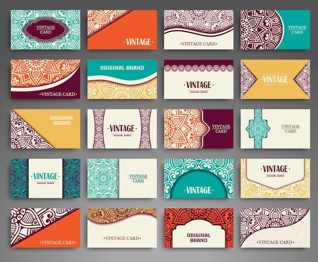 Cartão de visitas. elementos decorativos vintage.