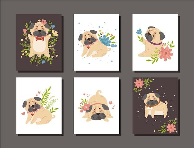 Cartão de viveiro de cachorro ou filhote de cachorro e flores