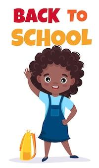 Cartão de volta à escola ou banner de telefone com modelo editável de aluno fofo