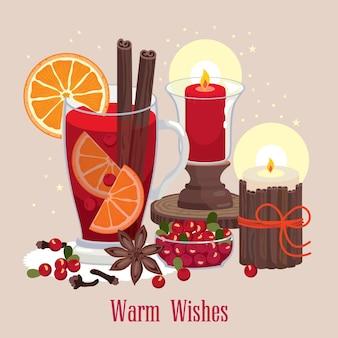 Cartão de votos calorosos com um copo de vinho quente, especiarias, canela e velas. vetor.
