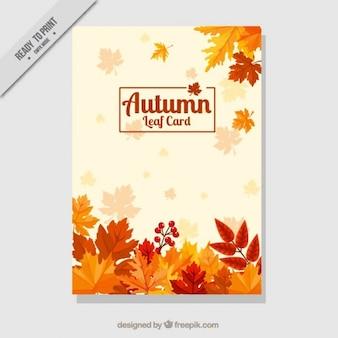 Cartão decorativo com folhas secas