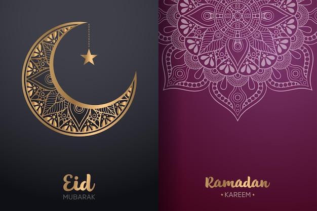 Cartão decorativo de eid mubarak e ramadan kareem com mandala e lua crescente.