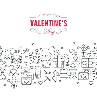 Cartão decorativo de feliz dia dos namorados com palavras sobre ser feliz e muitos símbolos monocromáticos, como ilustração de setas de fita em coração