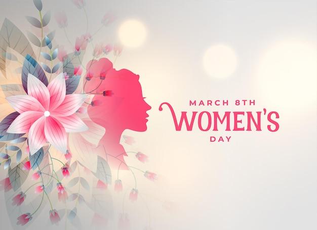 Cartão decorativo de flores de feliz dia das mulheres