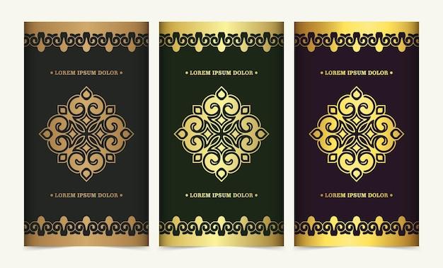 Cartão decorativo de mandala de luxo na cor ouro