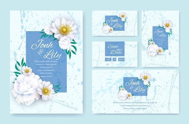 Cartão decorativo design de convite de casamento