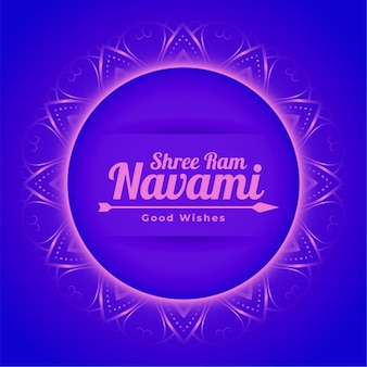 Cartão decorativo do festival hindu shree ram navami com moldura e flecha