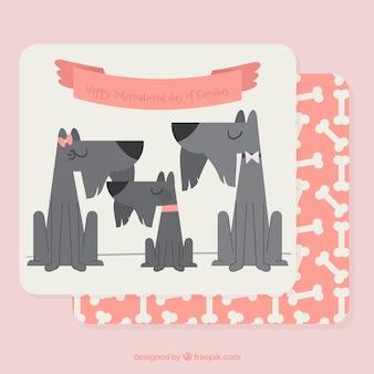 Cartão decorativo dos cães para o dia internacional das famílias