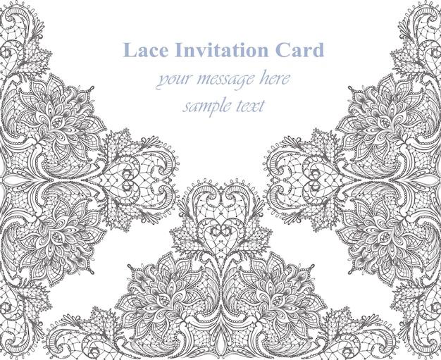 Cartão delicado do laço do vintage.