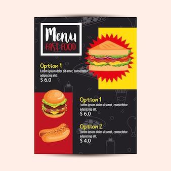 Cartão delicioso do menu do restaurante do fast food