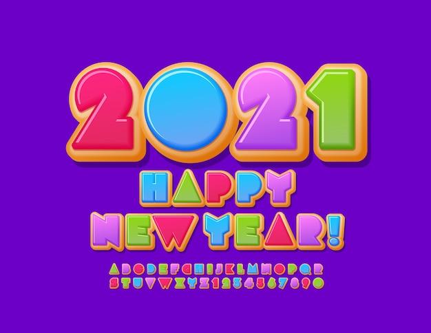 Cartão delicioso do vetor feliz ano novo 2021! fonte brilhante criativa. conjunto de letras e números do alfabeto de rosquinhas coloridas