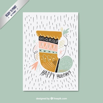 Cartão desenhado mão da peúga do natal