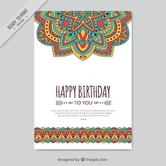 Cartão desenhado mão no estilo boho
