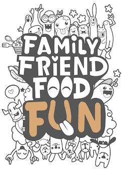 Cartão do alimento do amigo da família