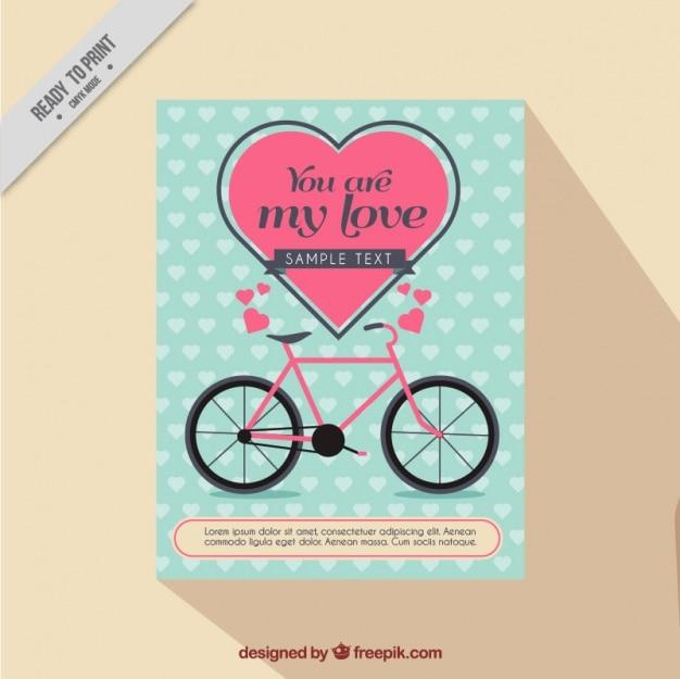 Cartão do amor com corações e bicicleta rosa