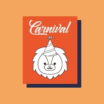 Cartão do animal do leão do carnaval