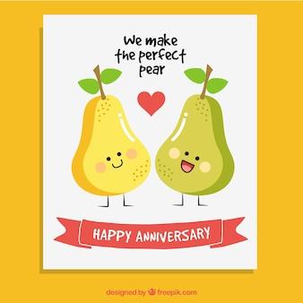 Cartão do aniversário de peras