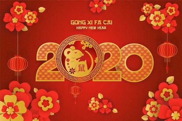 Cartão do ano do rato de gong xi fa cai 2020