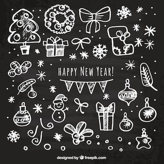 Cartão do ano novo feliz esboçado