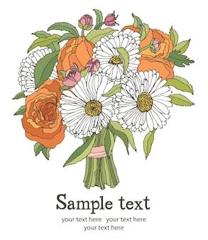 Cartão do bouquet de flores