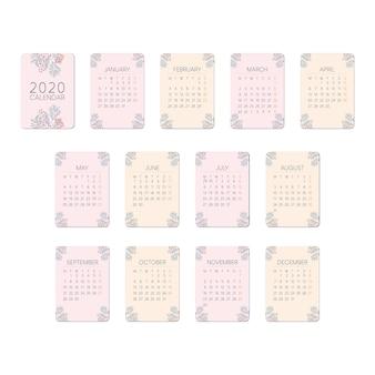 Cartão do calendário do rosa 2020 do pêssego da flor