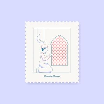 Cartão do cartão do selo de ramadan kareem