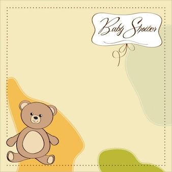 Cartão do chuveiro com o brinquedo do urso de peluche
