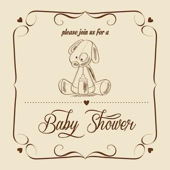 Cartão do chuveiro com o brinquedo retro