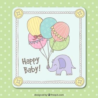 Cartão do chuveiro de bebê bonito no estilo desenhado mão