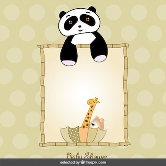 Cartão do chuveiro de bebê com animais bonitos