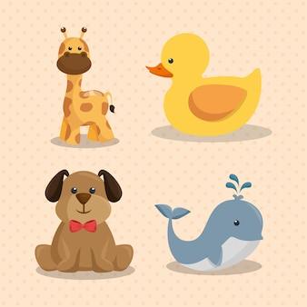 Cartão do chuveiro de bebê com animais fofos