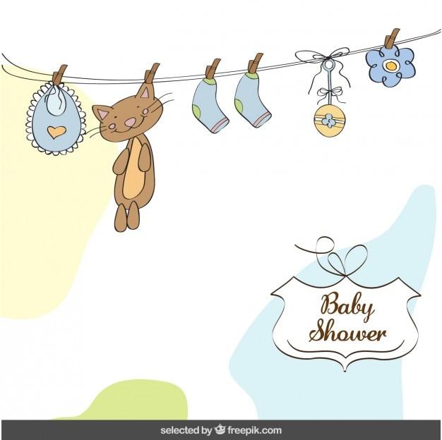 Cartão do chuveiro de bebê com as coisas do bebê
