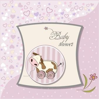 Cartão do chuveiro de bebê com brinquedo bonito da vaca