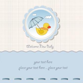 Cartão do chuveiro de bebê com brinquedo de pato