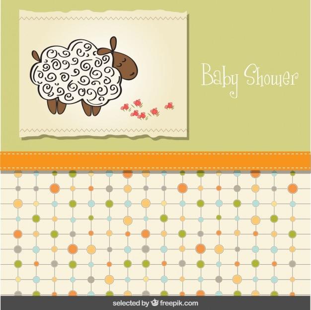 Cartão do chuveiro de bebê com carneiros
