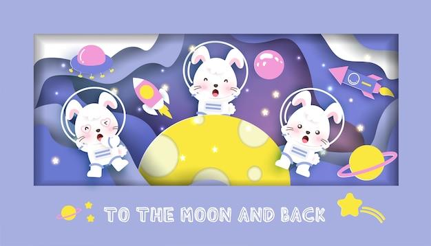 Cartão do chuveiro de bebê. com coelhos fofos na galáxia para cartão de aniversário, cartão postal,