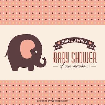 Cartão do chuveiro de bebê com elefante bonito