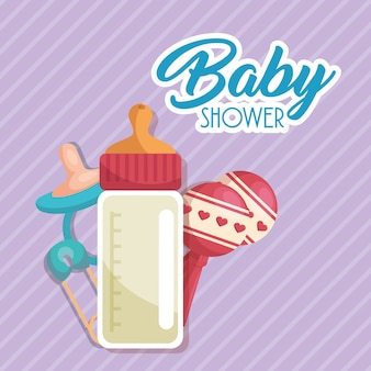 Cartão do chuveiro de bebê com garrafa de leite