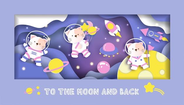 Cartão do chuveiro de bebê com gatos bonitos da galáxia.