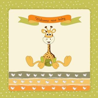 Cartão do chuveiro de bebê com girafa do bebê
