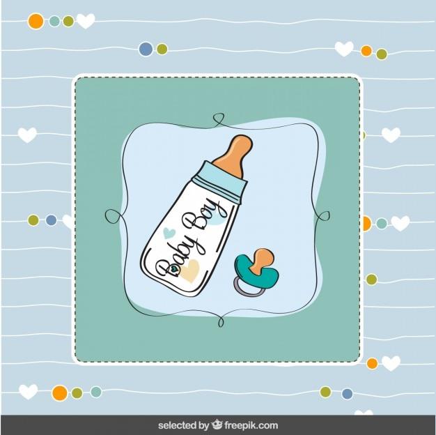 Cartão do chuveiro de bebê com mamadeira