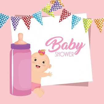 Cartão do chuveiro de bebê com menina