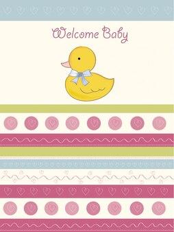 Cartão do chuveiro de bebê com pequeno duc