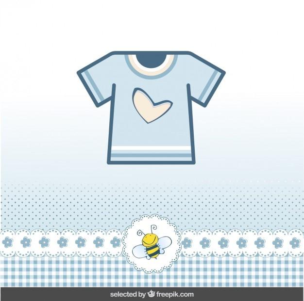 Cartão do chuveiro de bebê com t-shirt azul