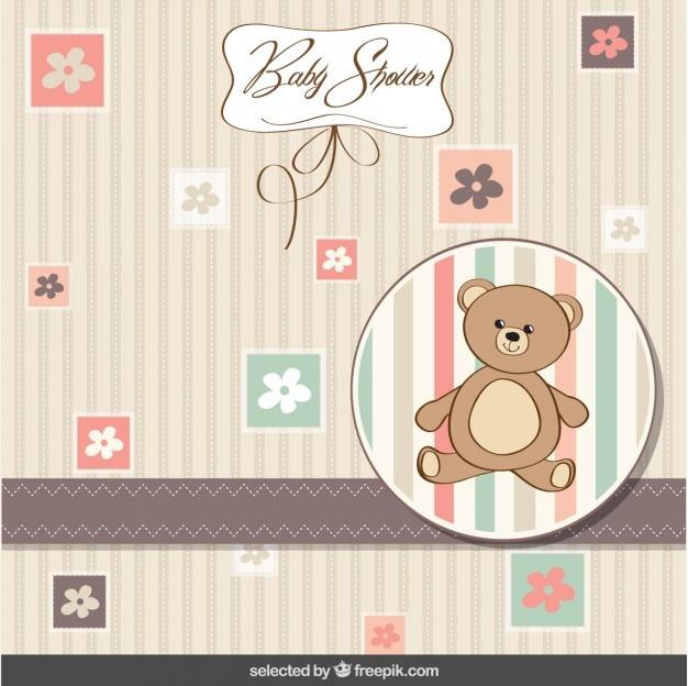 Cartão do chuveiro de bebê com urso de pelúcia e flores
