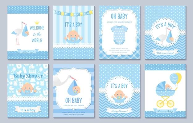Cartão do chuveiro de bebê. design de menino bebê