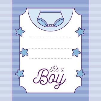 Cartão do chuveiro de bebê é um menino com fralda