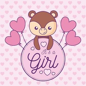 Cartão do chuveiro de bebê é uma menina com urso bonito