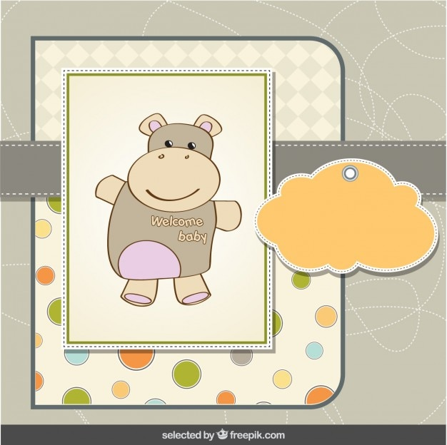 Cartão do chuveiro de bebê hipopótamo