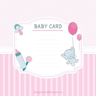 Cartão do chuveiro de bebê listrado em tons de rosa